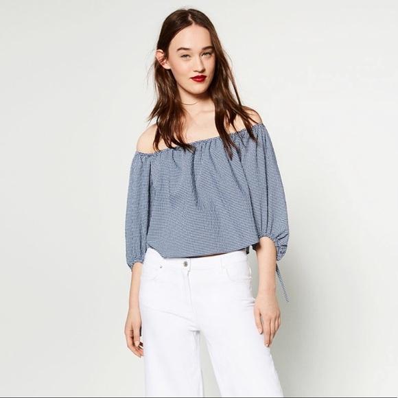 04486975f82 Zara Tops | Gingham Off Shoulder Top Blouse | Poshmark